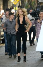 GIGI HADIN on the set of a Commercial in New York