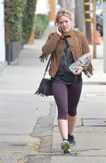 HILARY DUFF in Leggings Out and About in West Hollywood 05/07/2015