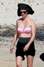 JANUARY JONES in Bikini Top on the Beach in Hawaii 05/03/2015