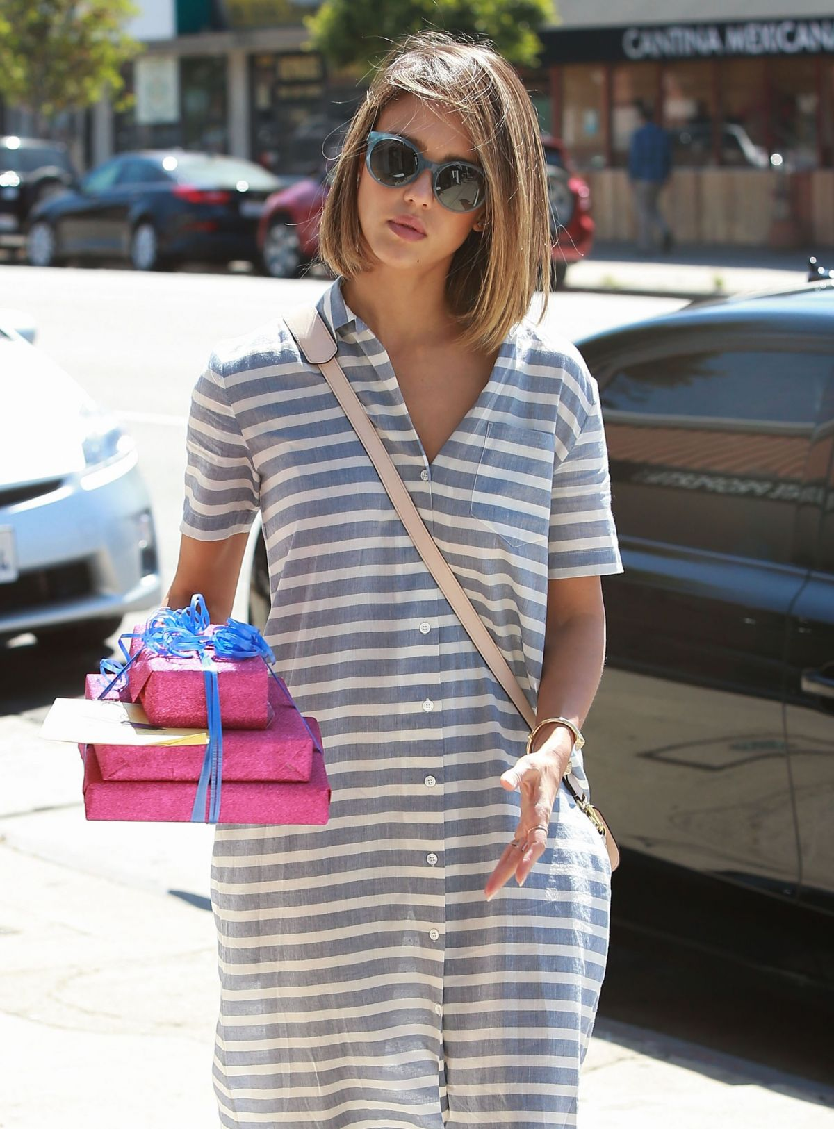 JESSICA ALBA Heading to a Birthday Party in West Hollywood