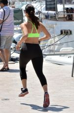 JESSICA LOWNDES in Tank Top and Leggings Jogging in Cannes