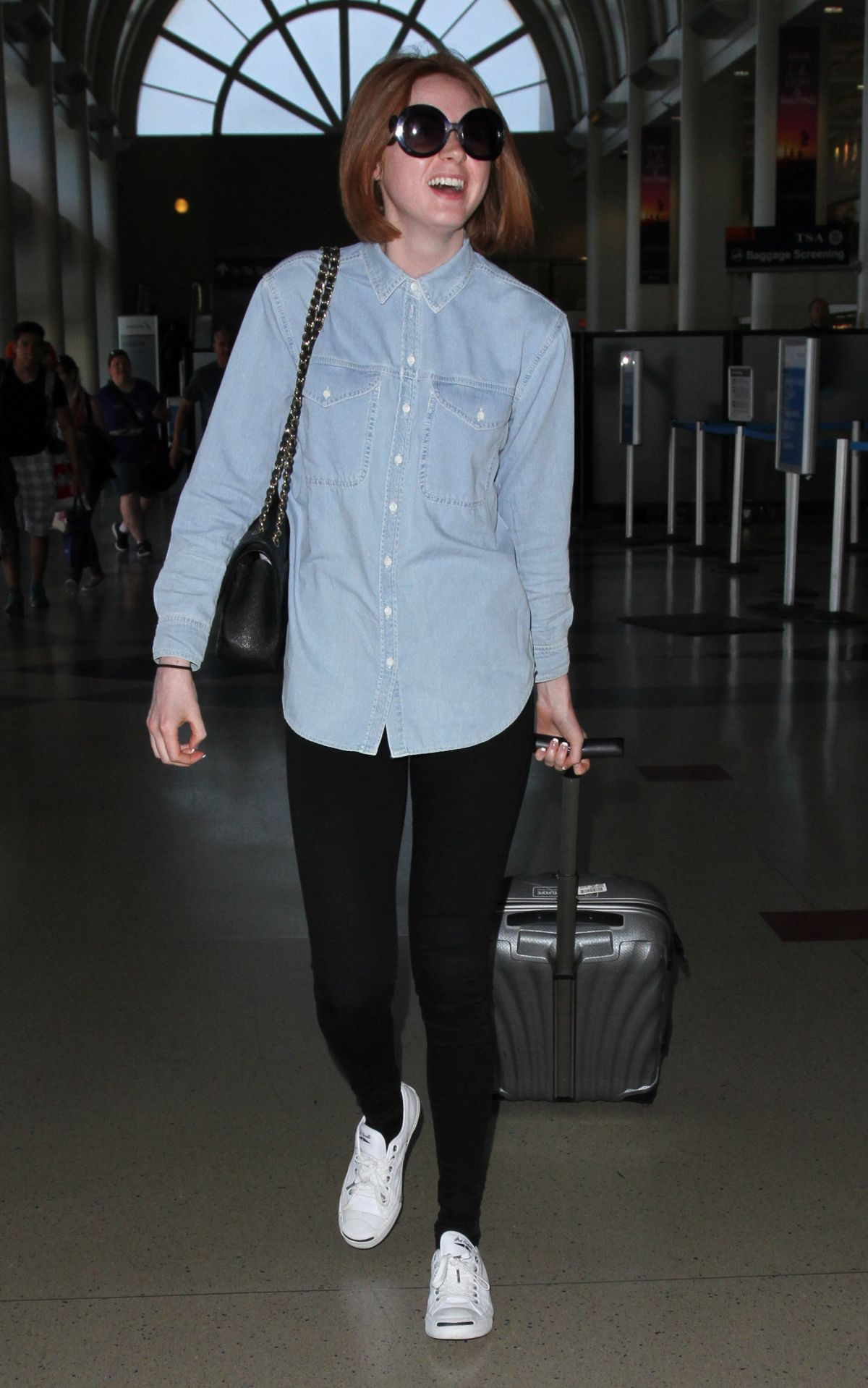 KAREN GILLAN Arriving at Los Angeles International Airport 05/29/2015