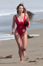 KEELEY HAZELL in Red Baywatch Bathing Suit at Nat Geo Channel Photoshoot
