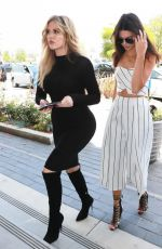 KENDALL JENNER and KHLOE KARDASHIAN on the Set of Keeping Up with the Kardashian in Los Angeles
