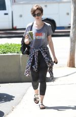 LILY COLLINS in Leggings Out and About in Los Angeles 05/01/2015