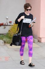 LILY COLLINS Leaves a Gym in West Hollywood 05/08/2015