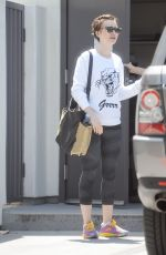 LILY COLLINS Leaves a Gym in West Hollywood 05/11/2015