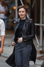 LILY COLLINS Out and About in New York 05/03/2015