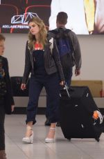 LILY JAMES Arrives Airport in Adelaide