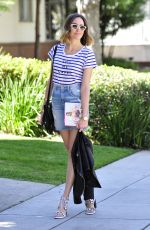 LOUISE ROE in Jeans Skirt Out in Beverly Hills 05/04/2015