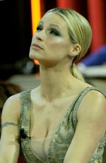MICHELLE HUNZIKER on the Set of a TV Show in Milan