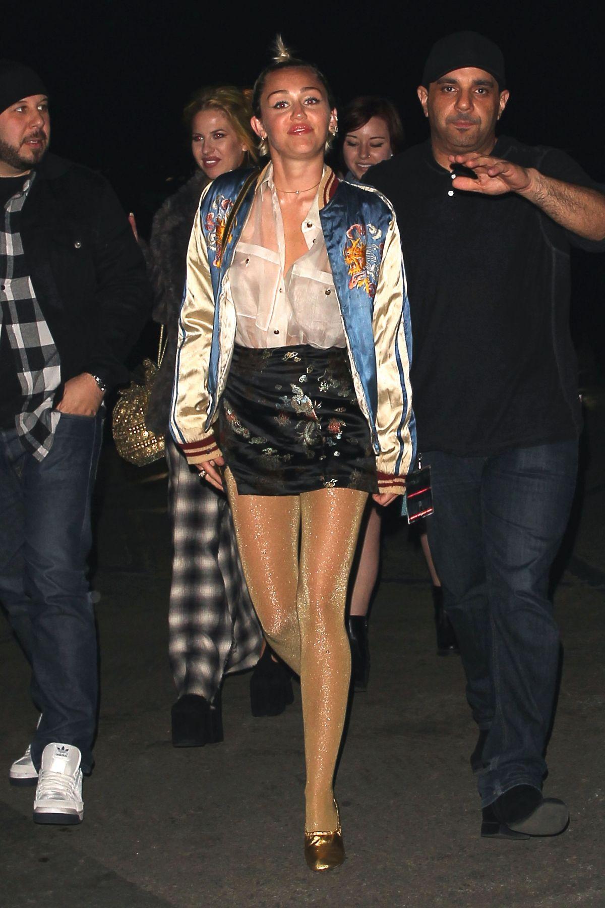 MILEY CYRUS Arrives at Lana Del Rey Concert in Los Angeles