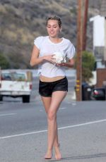 MILEY CYRUS in SHorts Out and About in Los Angeles 04/30/2015