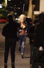 RITA ORA on the Set of Her New Music Video in London 05/20/2015