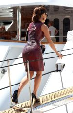 SALMA HAYEK Arrives at a Boat in Cannes
