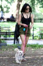 VANESSA HUDGENS Taking Her Dog to a Park in New York