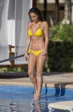 VICKY PATTISON in Yellow Bikini at a Pool in Mexico