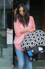 ZOE SALDANA Out and About in Beverly Hills 05/07/2015