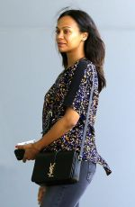 ZOE SALDANA Out and About in Century City 05/04/2015