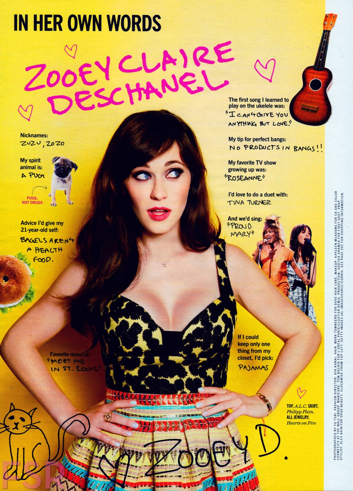 2015 June: ZOOEY DESCHANEL In Cosmopolitan Magazine, June 2015 Issue
