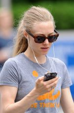AMANDA SEYFRIED in Leggings Out and About in New York 06/25/2015