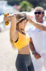 AMY WILLERTON in Tights Working Out at a Beach in Ibiza 06/23/2015