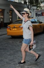ANNE HATHAWAY in Jeans Shorts Out and About in New York