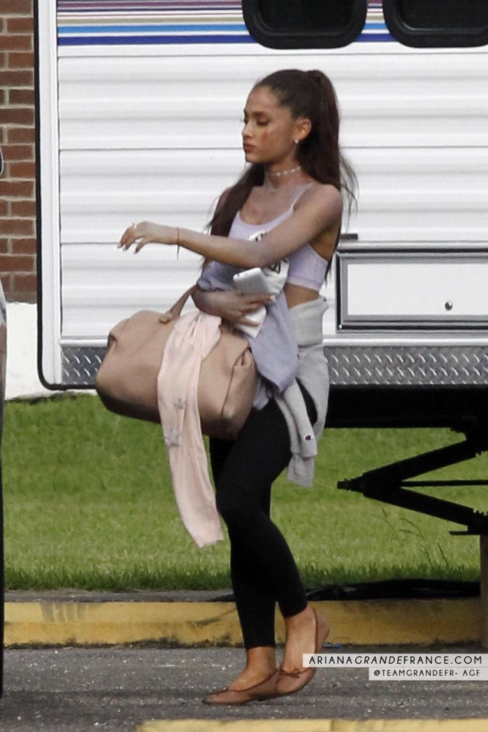 ARIANA GRANDE on the Set of Scream Queens 06/22/2015