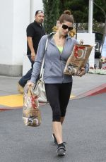 ASHLEY GREENE in Leggings Shopping at Bristol Farms in Beverly Hills 06/03/2015