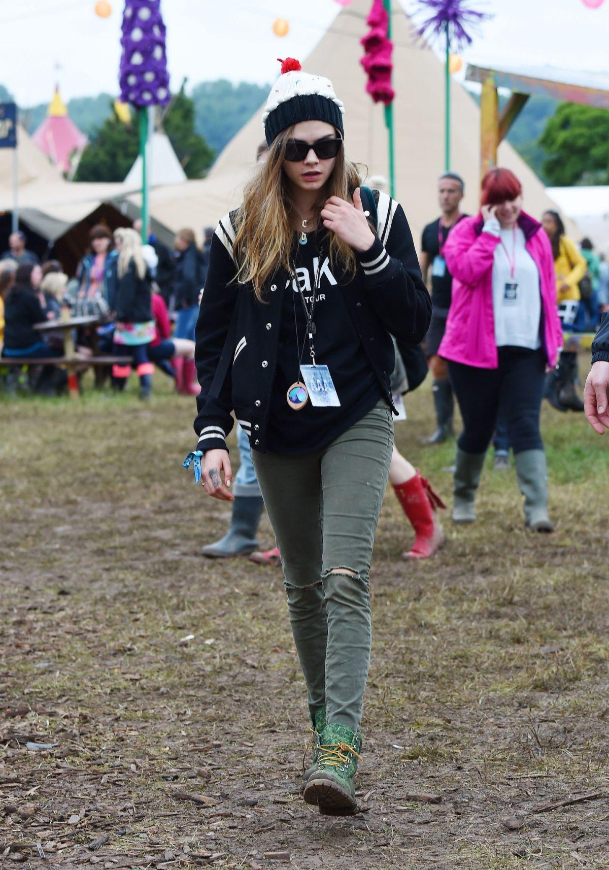 CARA DELEVINGNE at 2015 Glastonbury Festival in Somerset