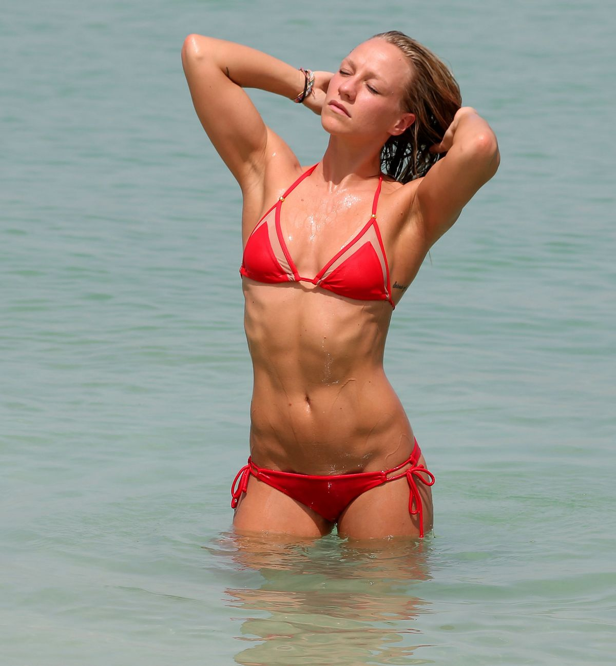 CHLOE MADELEY in Bikini on the Beach in Dubai 06/02/2015