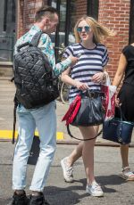 DAKOTA FANNING in Jeans Shorts Out in New York 06/17/2015