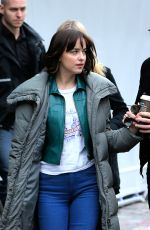 DAKOTA JOHNSON Leaves the Set in the Meatpacking District in New York 06/01/2015
