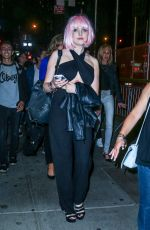 ELIZABETH GILLIES with a Pink Wig Night Out in New York 06/29/2015