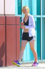 ELLE FANNING in Shorts and Tank Top Heading to a Gym in Studio City 06/30/2015