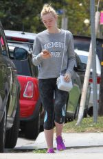 ELLE FANNING in Tights Out and About in Los Angeles 06/06/2015