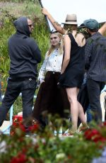 ELLE FANNING on the Set of a Photoshoot in Malibu 06/17/2015