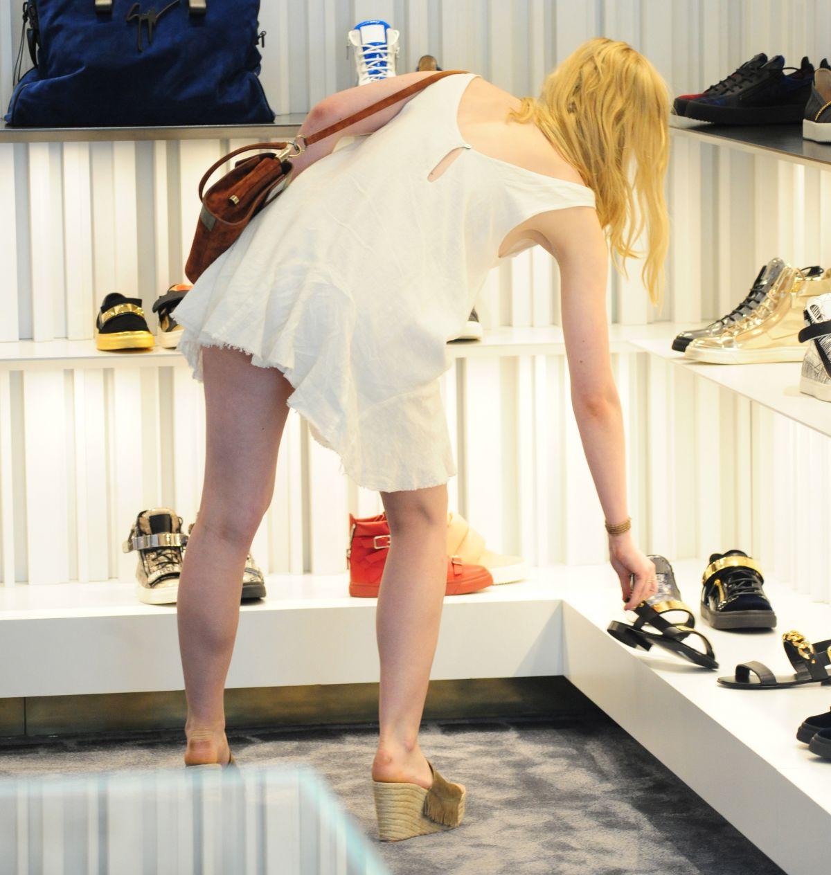 ELLE FANNING Shopping at Giuseppe Zanotti Store in Beverly Hills 06112015