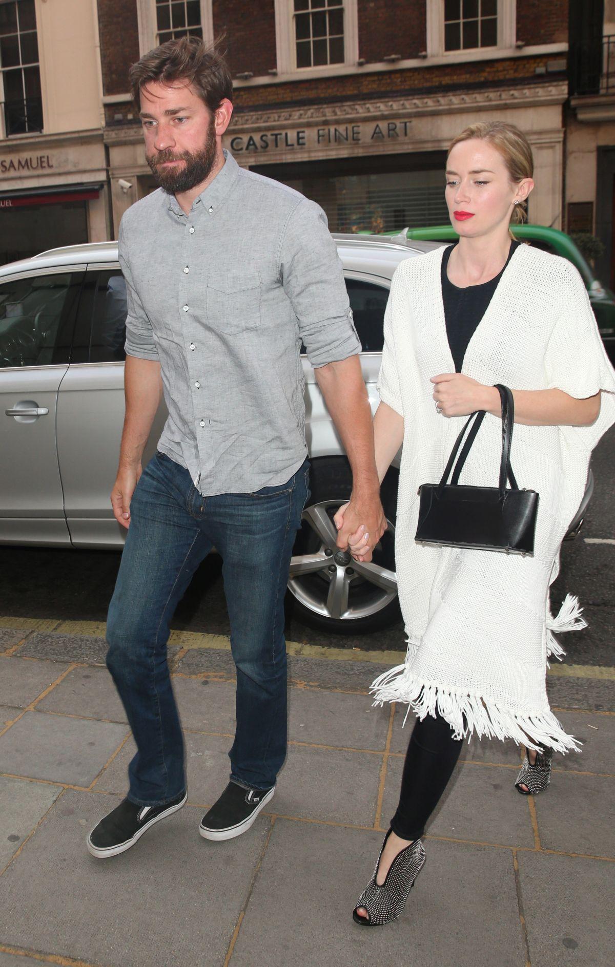 EMILY BLUNT and John Krasinski Out for Dinner in London 06/07/2015