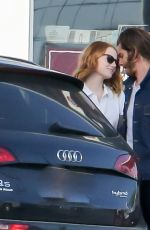 EMMA STONE and Andrew Garfield at a Gas Station in Santa Monica 06/20/2015