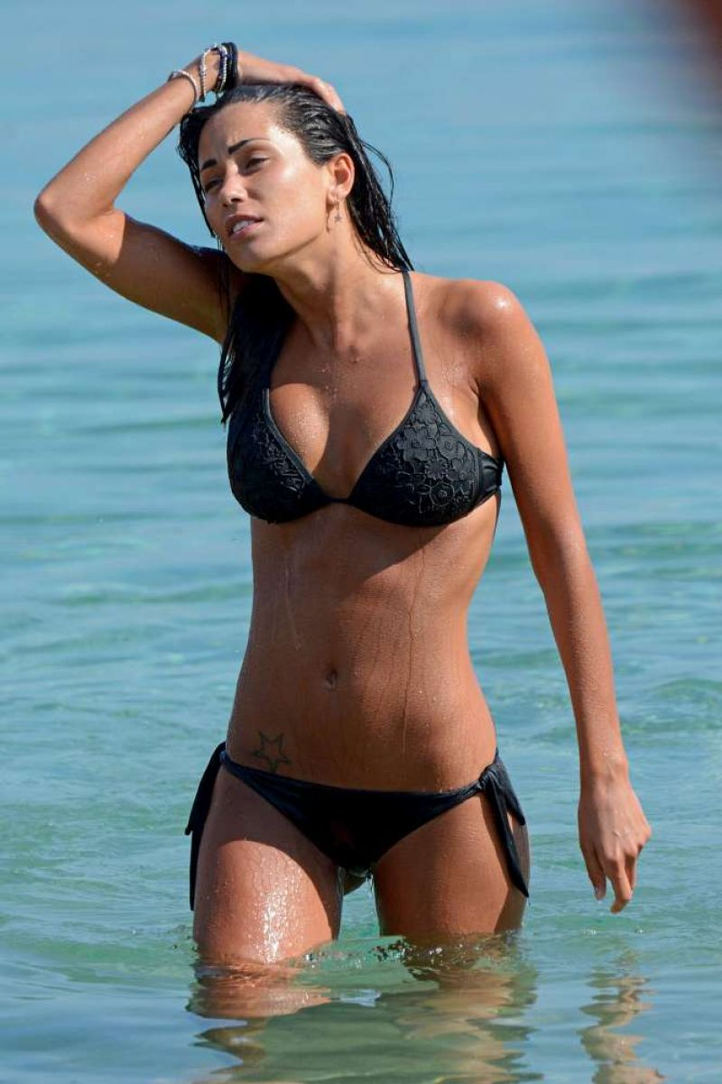 FEDERICA NARGI in Black Bikini at a Beach in Mykonos 06/13/2015