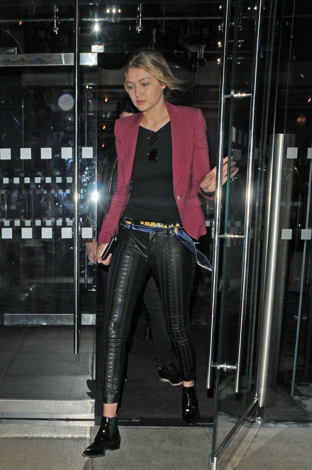 GIGI HADID Leaves Her Hotel in London 06/28/2015