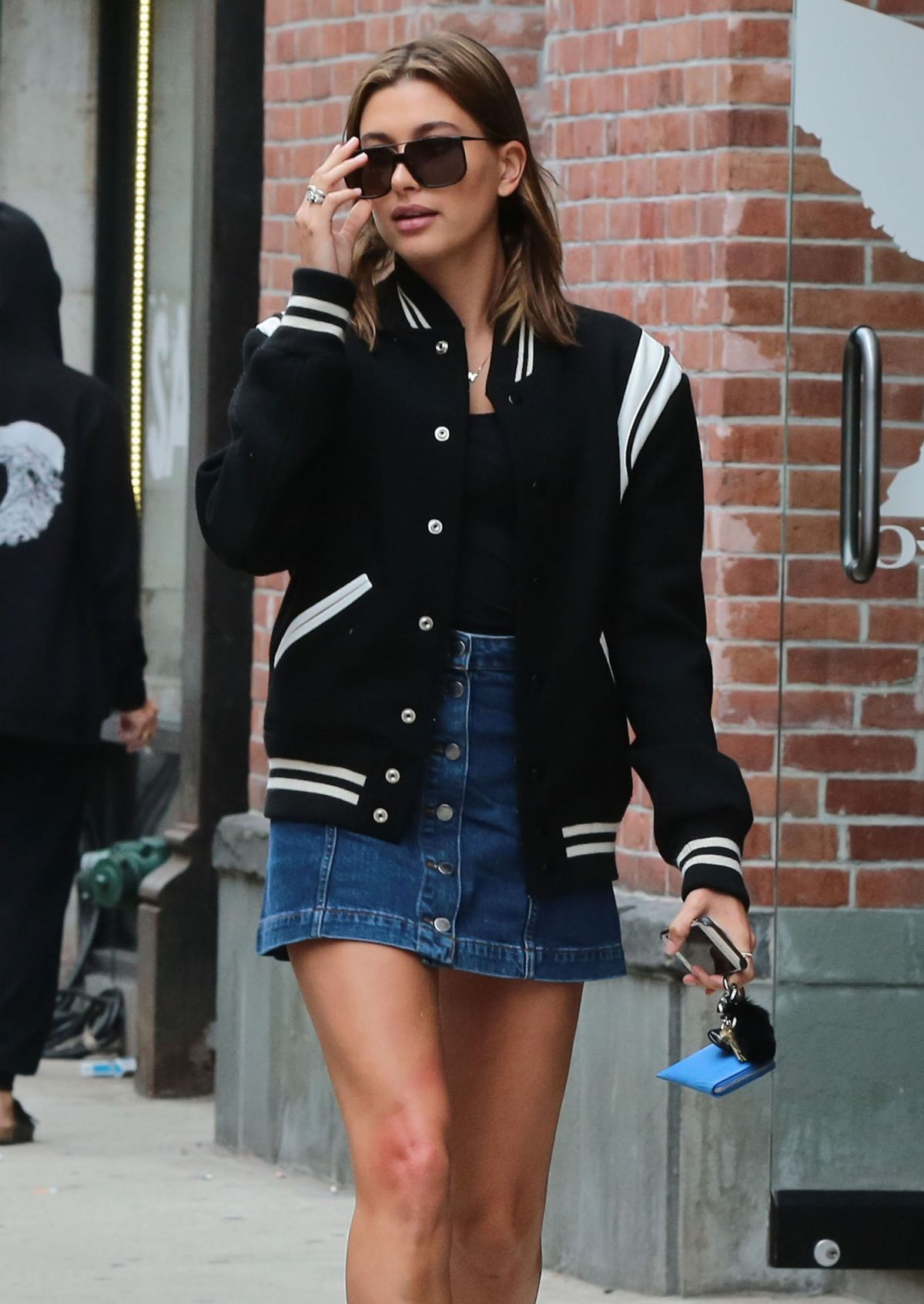HAILEY BALDWIN in Jeans Skirt Out in New York 06/18/2015