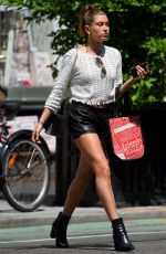 HAILEY BALDWIN in Leather Shorts Out Shopping in New York 06/19/2015