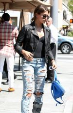 HAILEY BALDWIN in Ripped Jeans Out for Lunch in Beverly Hills 06/02/2015