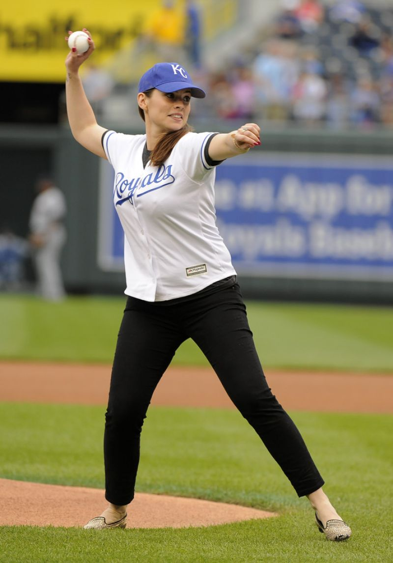 HAYLEY ATWELL Tthrowing 1st Pitch in Kansas City