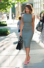 JESSICA ALBA in Tight Dress Leaves Her Hotel in New York 06/10/2015
