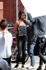 JOURDAN DUNN on the Set of a Photoshoot in London 06/10/2015
