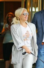 LADY GAGA Walks Her Dog Out in New York 06/20/2015