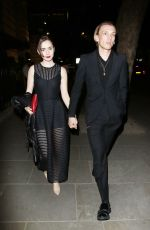 LILY COLLINS and Campbell Bower at Bend It Like Beckham After Party in London